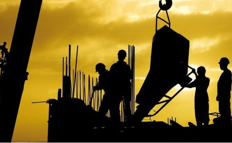 Construction site in silhouette