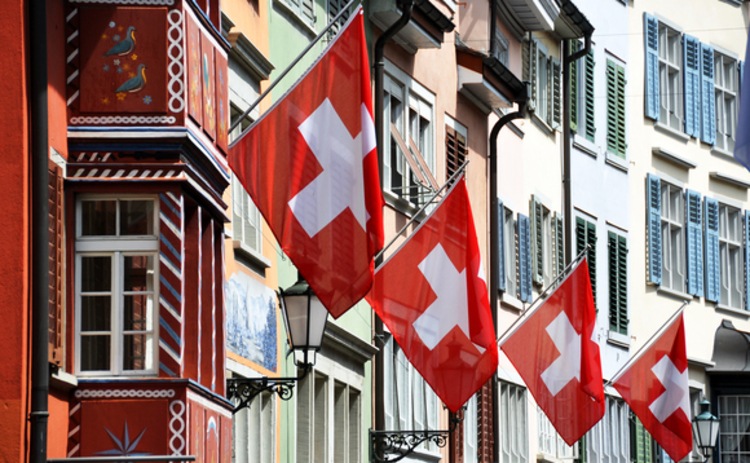 Zurich street on Swiss National Day