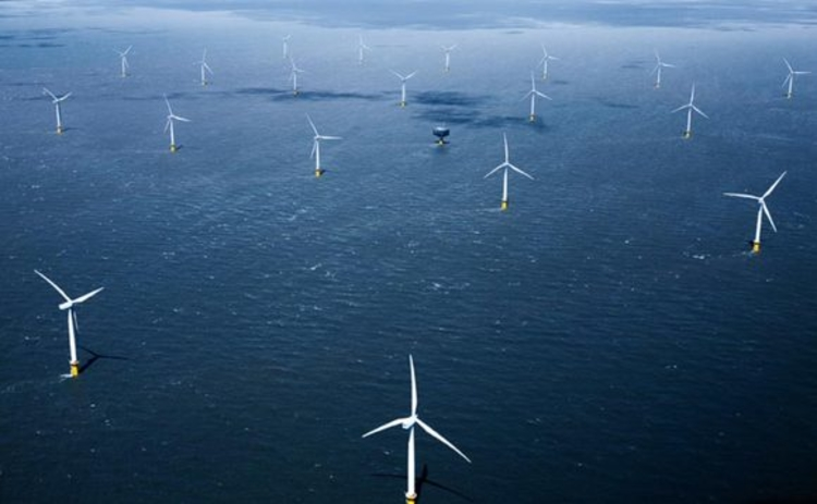 Aerial view of the Gunfleet Sands offshore wind farm