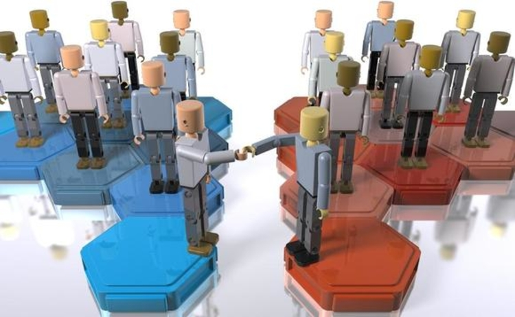 Models of people representing mergers and acquisitions