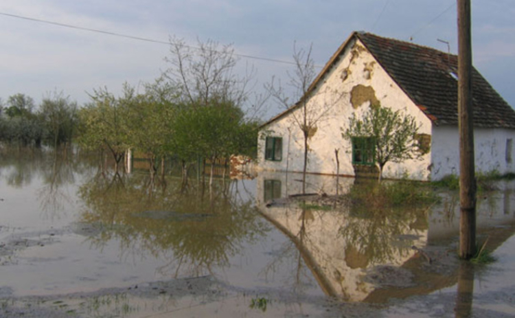 Flooded farm house