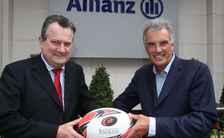 Clement Booth (left) with Saracens chairman Nigel Wray