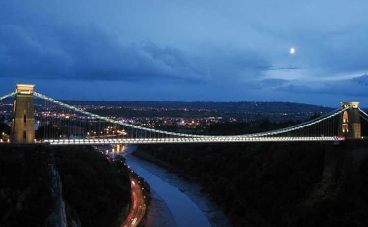The Clifton Suspension Bridge in Bristol at dusk