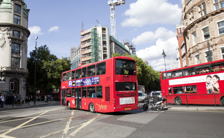London buses at a road junction