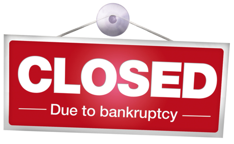 Closed sign - bankruptcy