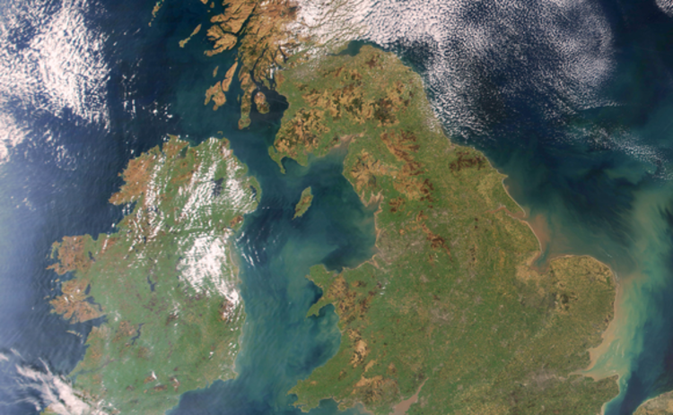 Britain and Ireland satellite image