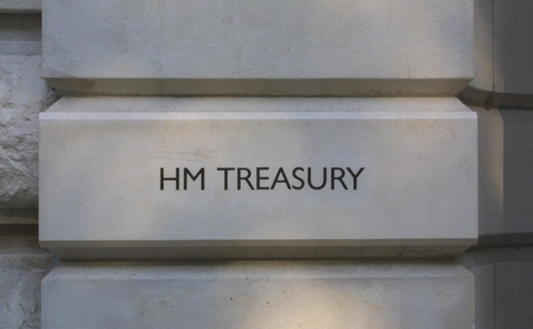 A HM Treasury sign